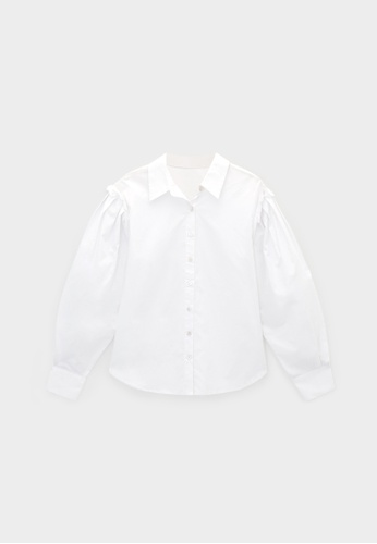 Pomelo white Ruffled Peasant Sleeves Shirt - White ED1FBAAB7D79F1GS_1