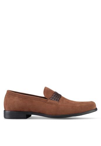 ZALORA brown Faux Leather Slip On Dress Shoes DF3E4SH0E07696GS_1