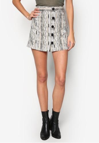 印花排鈕短裙, 服zalora 衣服評價飾, 迷你裙