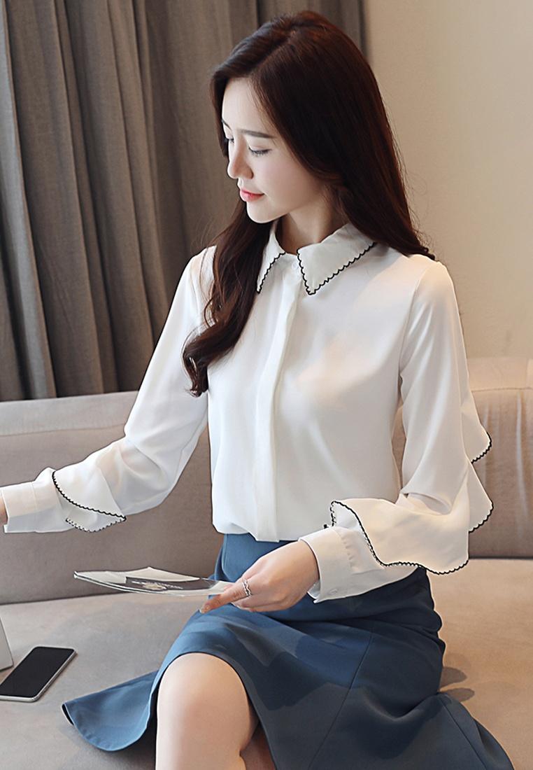 Sleeves Blouses Long Ruffles Halo OL White q6U0a78wx