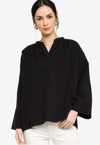 ZALIA BASICS black Oversize Placket  Blouse 5CF6AAAD7AA151GS_1