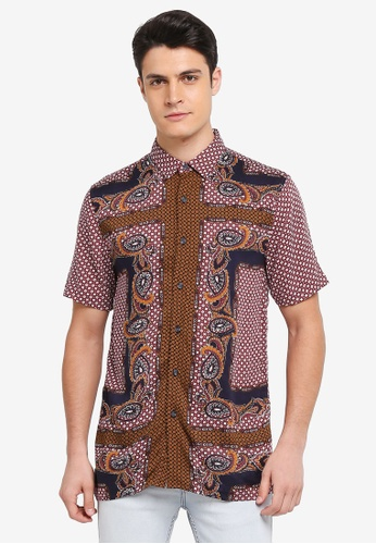 Topman 黑色 Short Sleeve Paisley Print Button Through Shirt 3AC45AA9F85679GS_1