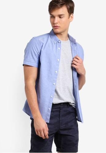 Burton Menswear London blue Light Blue Short Sleeve Oxford Shirt BU964AA23LRCMY_1