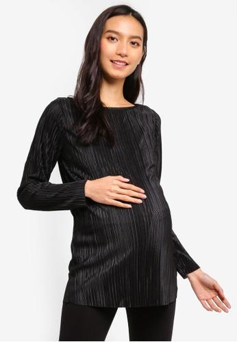 Dorothy Perkins 黑色 孕婦裝 綢緞長袖上衣 E20FDAA3397602GS_1