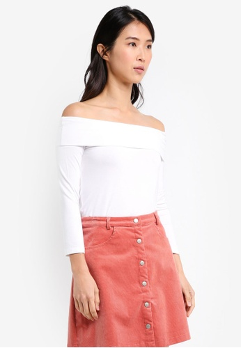 ZALORA white Essential Long Sleeve Off Shoulder Top B72D2AA9A93D71GS_1