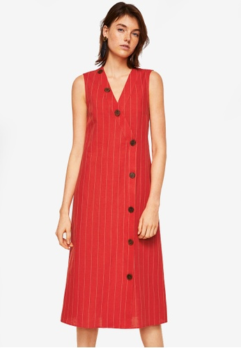 Mango red Striped Linen Dress 1BF1BAA3F61164GS_1