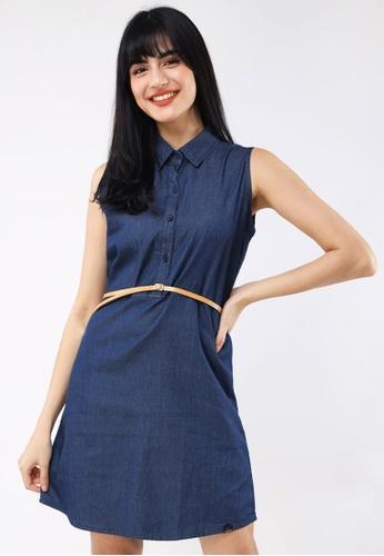Hotkiss blue Chambray Sleeveless Dress F611FAA583263AGS_1