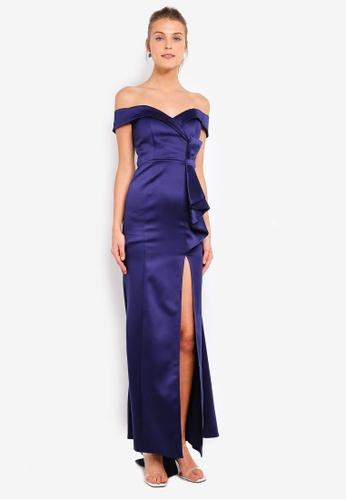 accd7437d63b Buy Goddiva Satin Bardot Bow Maxi Dress Online   ZALORA Malaysia