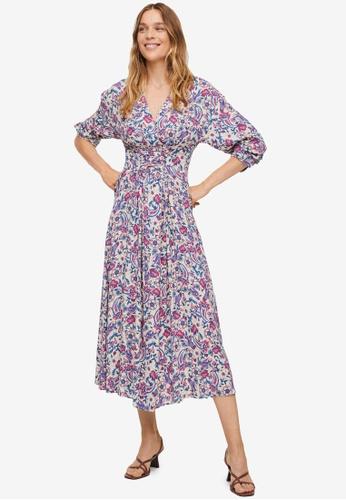 Mango 米褐色 Floral Print Dress 1E51EAAAB5317CGS_1