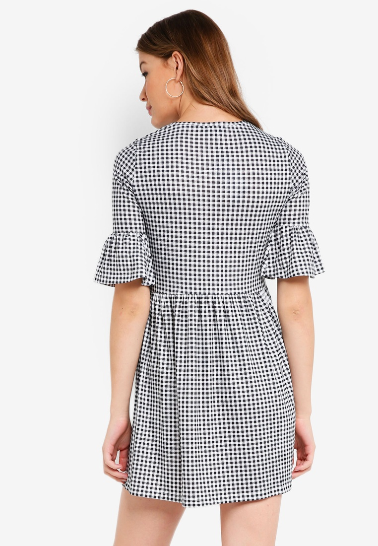 Dress BASICS 2 Marl Ruffle Gingham Shift ZALORA pack Grey Basic Sleeves Black 1XrwqAaOXn