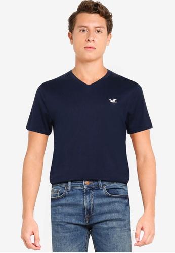 Hollister navy V-Neck T-Shirt 13DEEAACD5D15BGS_1