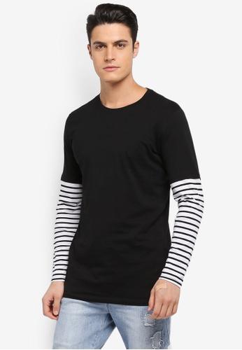 Factorie black and white Longsleeve Stripe A5B89AA5B04362GS_1