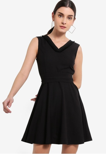 ZALORA 黑色 Sleeveless Fit And Flare Dress With Sash F4405AA3C482C6GS_1
