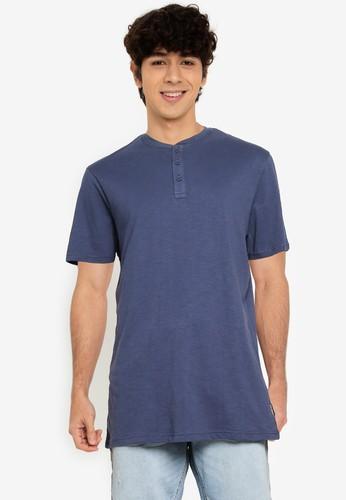Springfield blue Henley-Neck T-Shirt 53C35AA8BDB8A0GS_1