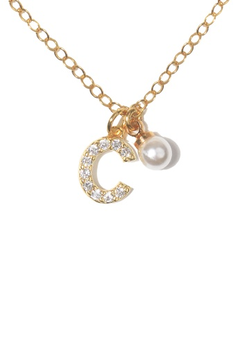 PSYNDROME gold Personalised Initial Diamond Letter Alphabet with Pearl Necklace - C BD170AC45CD5DAGS_1