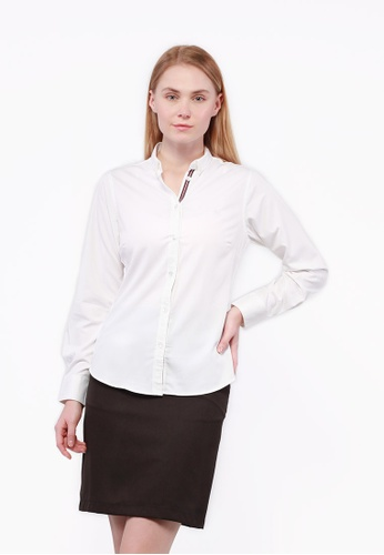 Nicole Exclusives white Nicole Exclusives Long Sleeves Collared Shirt-White 6C6C6AAB2BE0DCGS_1