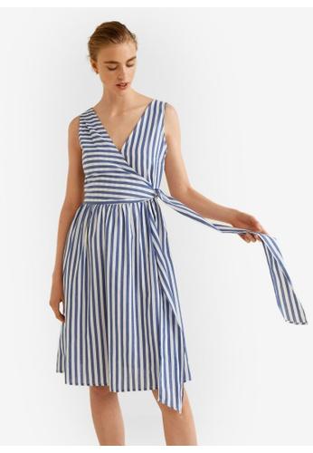 Mango blue Striped Wrap Dress 39658AAF65C85AGS_1