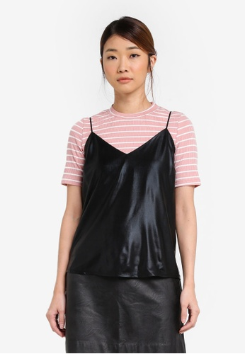 Something Borrowed black Metallic Camisole Top EB7A7AAC6AF25FGS_1