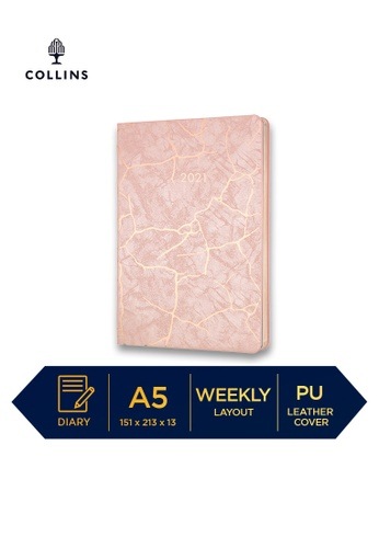 Collins pink Collins Enigma ─ 2021 Calendar Year Diary ─ Pink ─ A5 Week to View 1F69BHLD987717GS_1