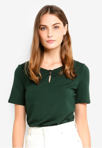 ESPRIT green Decorated Neckline T-Shirt 0832AAA9EDA961GS_1