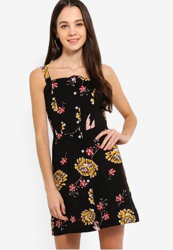 Something Borrowed black Buttoned Down Straight Neck Dress 20DA5AA5FBF79CGS_1