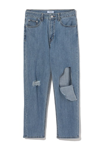 Fivecm blue Busted knee cropped jeans D7A17AA5705906GS_1
