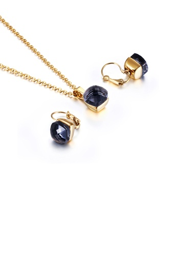 Glamorousky black Fashion and Simple Plated Gold Geometric Square 316L Stainless Steel Necklace and Earrings Set with Black Cubic Zirconia B7727ACE496E22GS_1