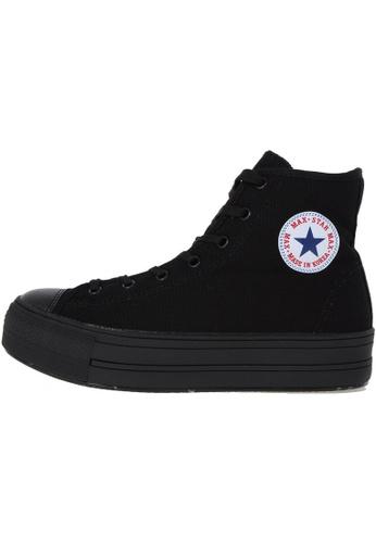 Maxstar 黑色 新款韩国鞋C30-Taller時尚帆布布混合女黑色 US Women Size MA345SH21HDYTW_1