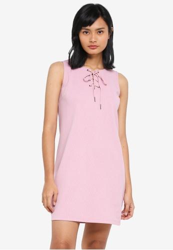 Something Borrowed pink Lace Up Sleeveless Shift Dress 58E8CAA97807ECGS_1