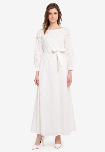 Zalia white Lace Trim Dress 04359AADF08922GS_1
