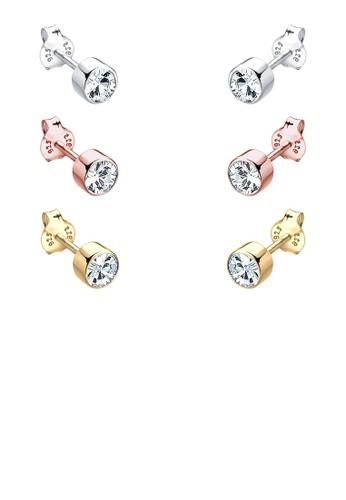 施華洛世奇水晶 925 銀esprit hk鍍金耳環組合, 飾品配件, 耳釘