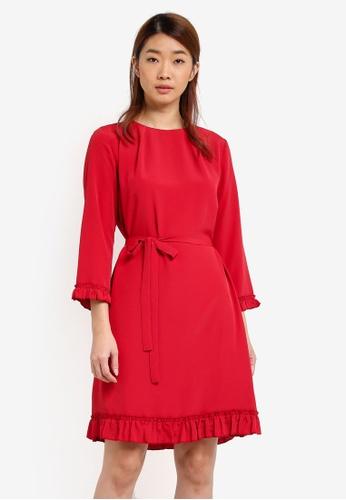 ZALORA red Ruffled Hem Shift Dress DFE20AA65A3ABFGS_1