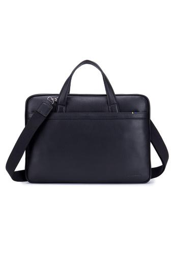 "ENZODESIGN black Premier Full Grain Leather Light Weight Slim Briefcase(Fit 14"" Notebook) HK12196BLK EFDA6ACF5C4504GS_1"