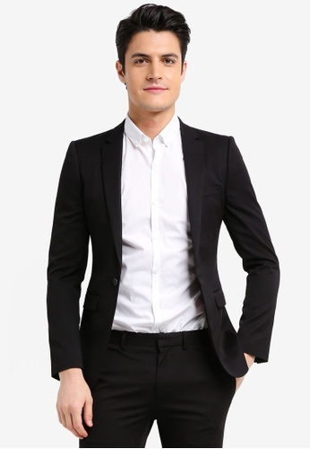Topman black Black Ultra Skinny Fit Suit Jacket 2B485AA386B946GS_1