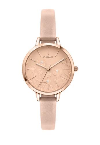 Oui & Me beige Petite Fleurette Quartz Watch Nude Leather Strap ME010129 F8102ACF31A017GS_1