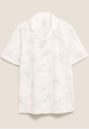 MARKS & SPENCER beige M&S Pure Cotton Palm Print Revere Shirt D5294AA0B9F856GS_1