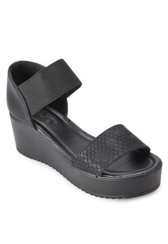 Resprit auocklea 寬帶厚底楔型跟涼鞋, 女鞋, 鞋