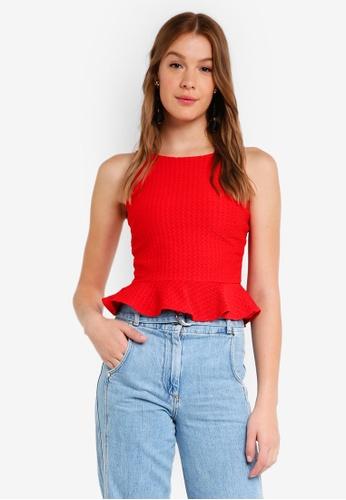 Miss Selfridge red Red Smart 90S Peplum Top 4A53FAA67973C9GS_1