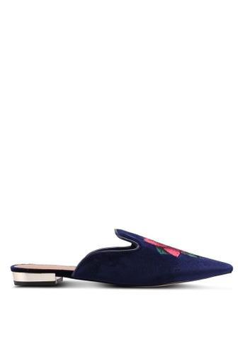Miss KG 海軍藍色 繡花絲絨懶人穆勒鞋 2A7C5SH6184DDBGS_1