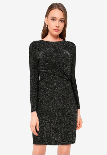 ONLY black Queen Long Sleeve Glitter Twist Dress 2FAA6AA02D8A31GS_1