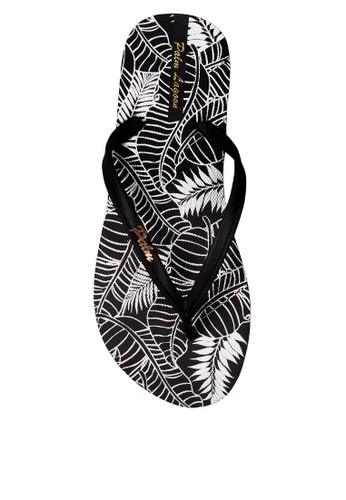 Palm Lagoon black Sandals & Flip Flop Leaves B&W 90321SHF4F3908GS_1