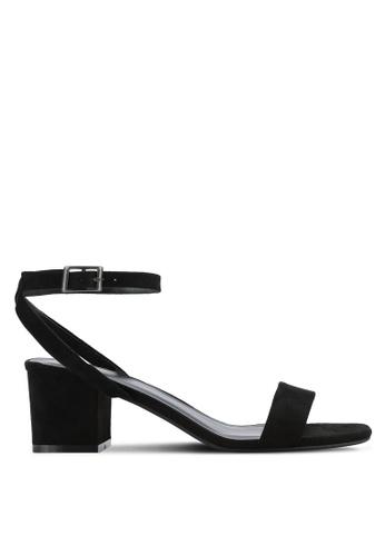 ZALORA 黑色 Faux Suede Ankle Strap Sandals 88A40SH925739FGS_1