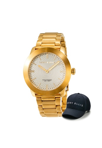 Perry Ellis gold Perry Ellis Slim Line Unisex Gold IP 42mm Quartz Stainless Steel Watch 07010-02 with Perry Ellis Cap 25B8EAC40A3A2BGS_1