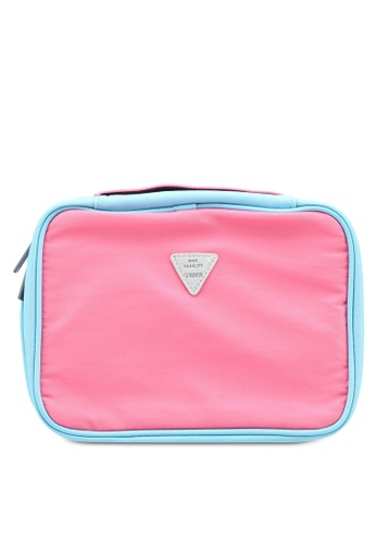 Bagstationz pink Colour Block Lightweight Water Resistant Travel Toiletries Pouch 2B0ADACC9DC184GS_1