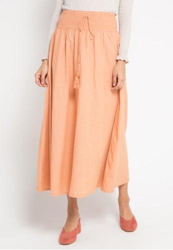 Exit orange Plain Maxi Skirt B6E23AA39EA783GS_1