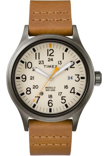 TIMEX brown Timex Allied 40 - Brown Strap, Beige Dial (TW2R46400) TI857AC0FOYRSG_1