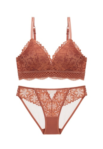 ZITIQUE orange Women's Comfort Wire-Free Push Up Lace Lingerie Set (Bra And Underwear) - Caramel 3FB45US064B61AGS_1