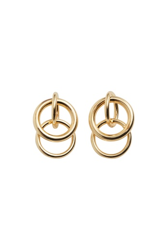 Violeta by MANGO gold Intertwined Hoop Earrings 6BED5AC4F7C037GS_1