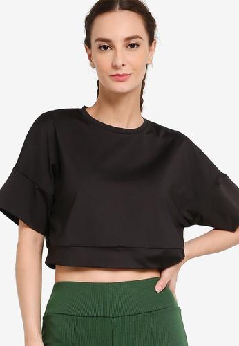ZALORA ACTIVE black Crop Back Mesh Sports T-Shirt C2CF4AA65A831CGS_1