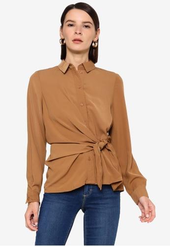 Vero Moda brown Maci Knot Shirt C51BBAA51B3042GS_1